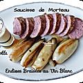 Endives braisées au vin blanc, saucisse de morteau et crème de cancoillotte