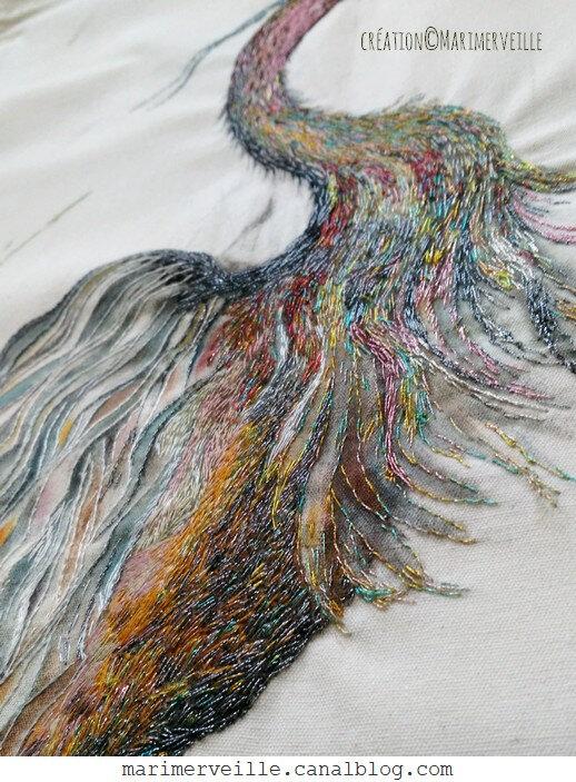Détail héron aux iris - creation marimerveille