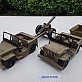 Jeep avec canon et remorque marque feral