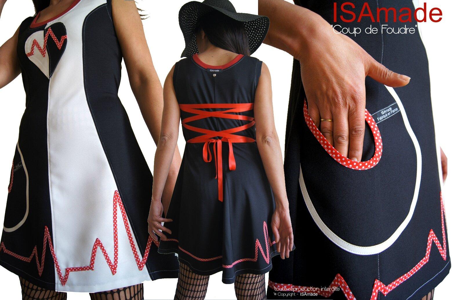MOD 396B Robe Saint valentin Bicolore noir Blanc écru rouge à pois coeur made in France créateur mode 2016