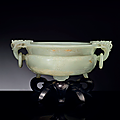 A well-carved white jade marriage bowl, qianlong period (1736-1795)