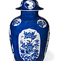 A blue and white powder-blue-ground jar and a cover, kangxi period (1662-1722)