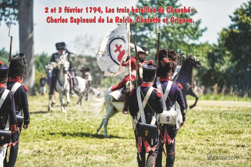2 et 3 février 1794, Les trois batailles de Chauché ; Charles Sapinaud de La Rairie, Charette et Grignon