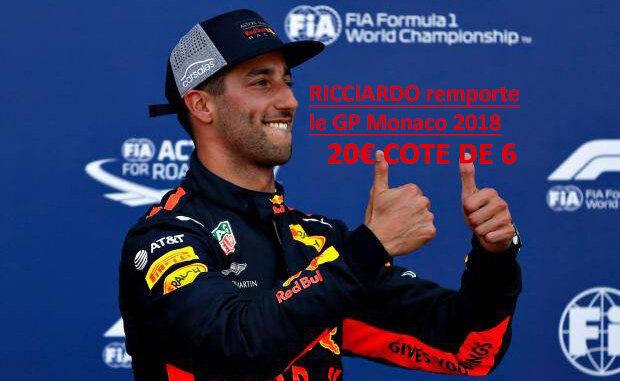 Ricciardo win Monaco, cote de 6