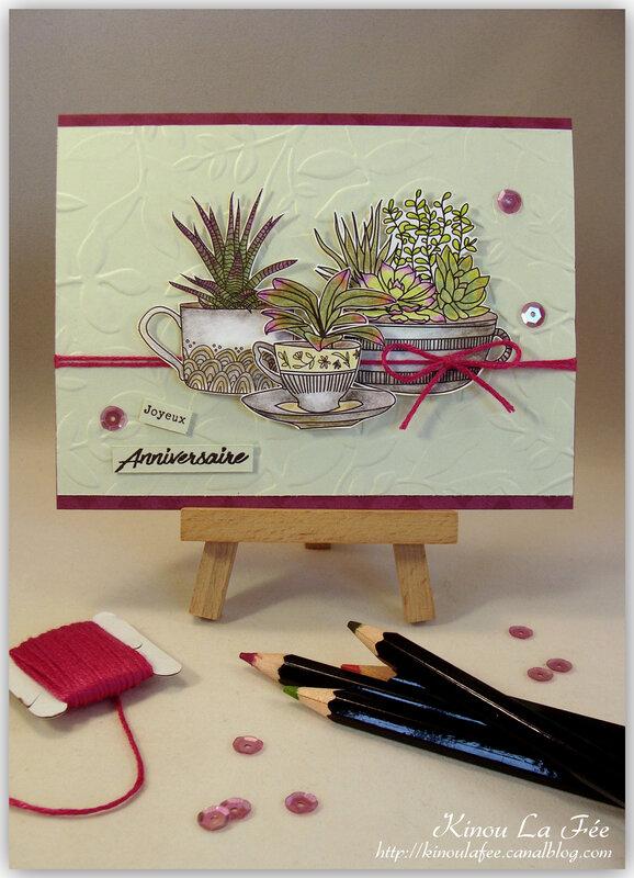 Carte Succulentes papiers à colorier 1