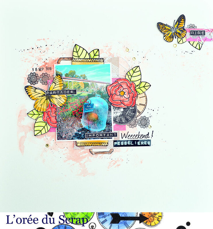blogorel defi scrap and co pesselieres fleurs et papillons