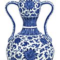 An extremely fine and rare blue and white double-gourd vase, Seal mark and period of Qianlong