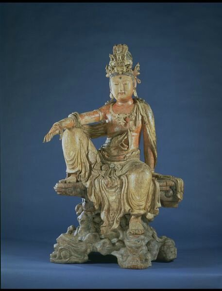 Figure of Bodhisattva Guanyin, wood, carved, painted, lacquered and gilded, China, Jin Dynasty, ca