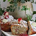 Mini cake rhubarbe, framboise & chocolat blanc