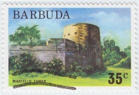 16238255-barbuda--circa-1976-stamp-printed-in-barbuda-shows-martello-tower-circa-1976
