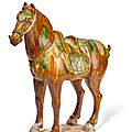 A sancai-glazed pottery model of a horse, Tang dynasty (618-907)