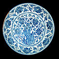 A large blue and white charger, zhengtong period (1436-1449)