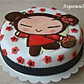 Gâteau pucca fleurs rouge et noir