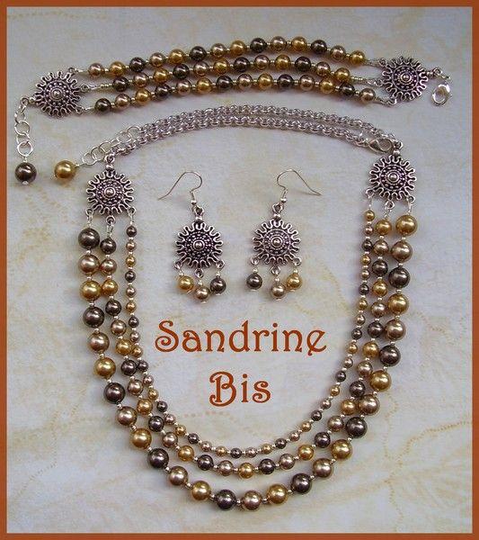 Chandelier soleil et perles nacrées