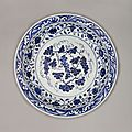 A chinese porcelain early ming blue and white circular deep dish. yongle, 1403-1424.
