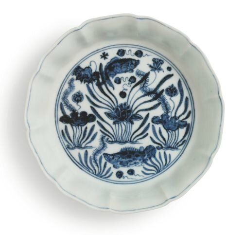 Blue and white 'fish pond' brush washer, mark and period of Xuande, from the Meiyintang collection