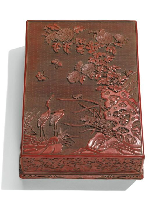 A cinnabar lacquer stationery box and cover, Ming dynasty, 16th century