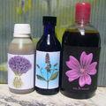 eaux florales : menthe, lavande et mauve
