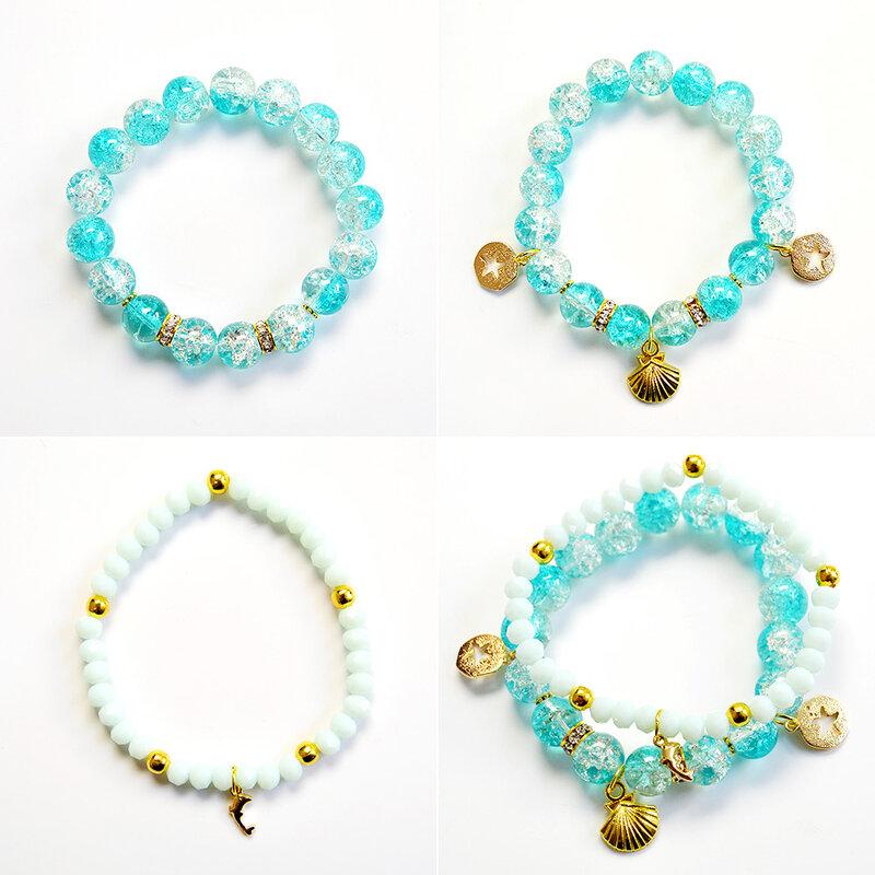 PandaHall Ideal on Making Blue Crackle Bracelets-2