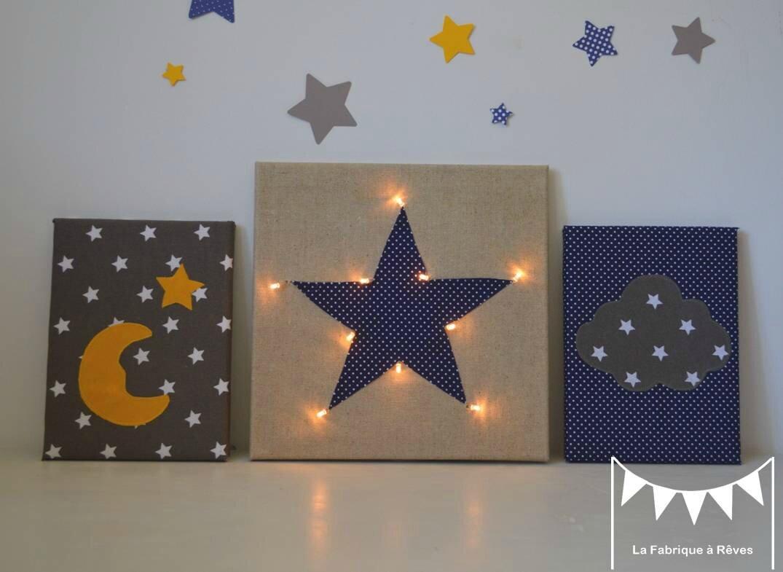 Tableau Veilleuse étoile Nuage Lune Décoration Chambre Bébé Jaune