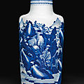 A large blue and white rouleau vase, kangxi period (1662-1722)