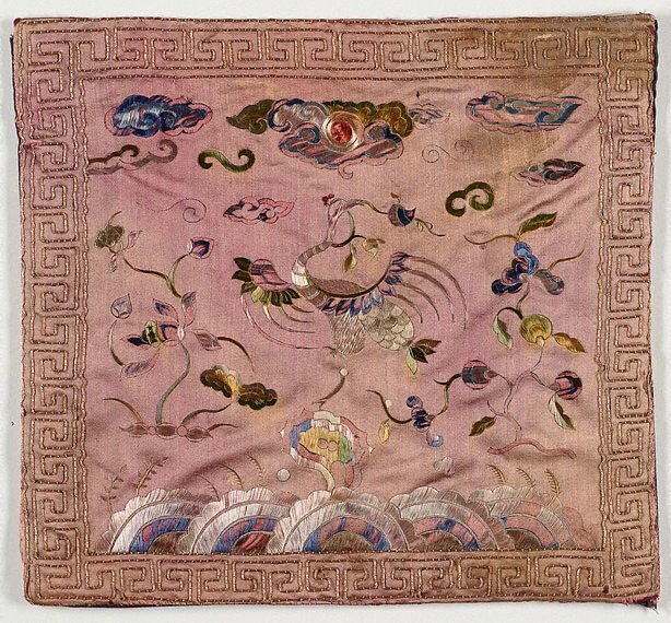 Pair of rank badges for a 1st or 2nd rank official - crane, Viet Nam, Nguyen dynasty, 19th century; embroidered silk, couched gold thread, 25.5 x 23.5 cm. Gift of Judith and Ken Rutherford 2006, 300.2006.a-b. Art Gallery of New South Wales, Sydney (C) Art