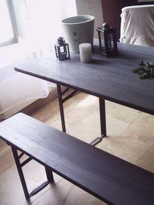 Patine table de brasserie