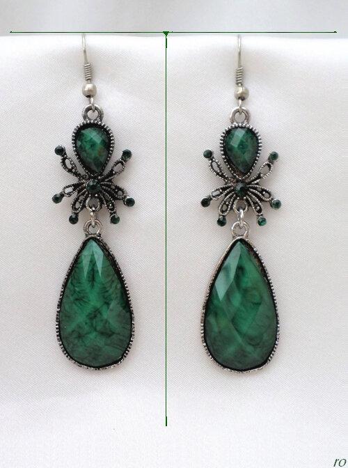 Boucles d'Oreilles Style Tibétain Araignée Nanga Perle Strass Vert Argent du Tibet