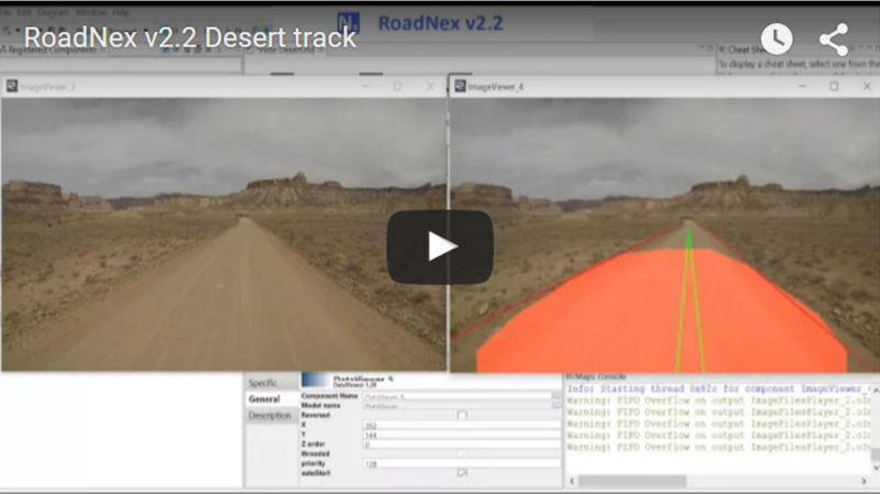 NEXYAD Adas Road detection on a desert track with RoadNex