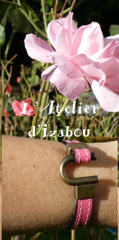 P1010062 Bracelet cuir rose double couture et fermoir fer a cheval bronze