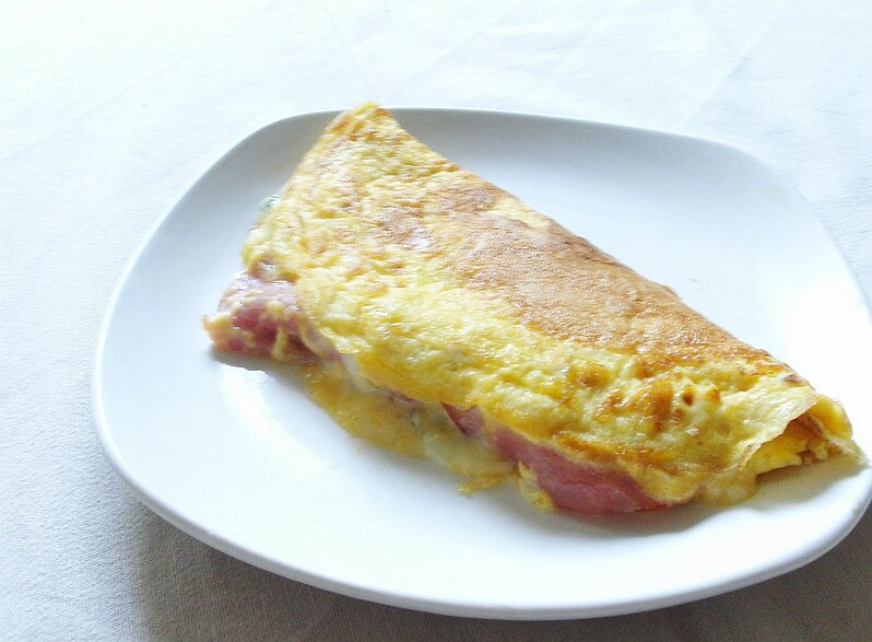 Omelette au bleu et au bacon