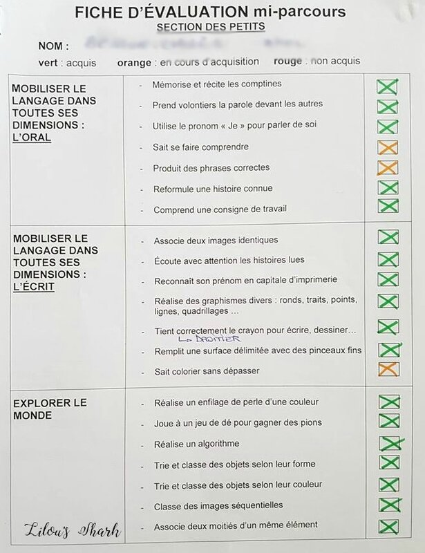 fiche evaluation petite section