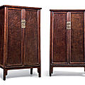 A rare pair of nanmu and burlwood round-courner cabinets, 18th century