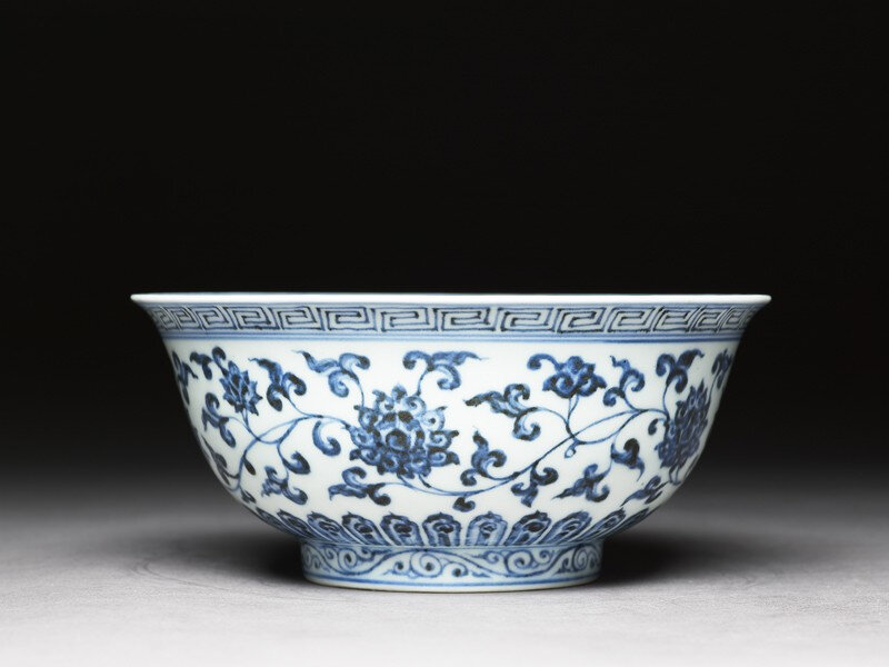 e-and-white bowl with lotus scrolls, Ming dynasty, Xuande period (1426–1435)