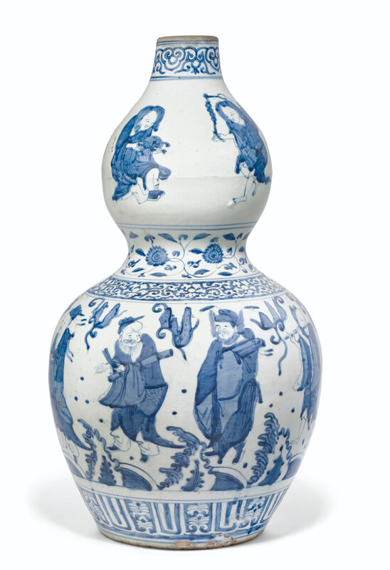A large blue and white 'Eight Immortals' double-gourd vase, Jiajing period (1521-1566)