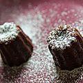 Mini cannelés passion chocolat et sa neige spéculoos/chocolat
