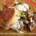 Cobbler aux champignons et épinards (angleterre)