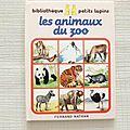 Les animaux du zoo,collection bibliothèque petits lapins, éditions nathan 1985