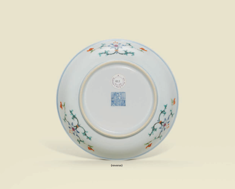 A famille rose 'Peach and Bats' dish, Qianlong six-character seal mark in underglaze blue and of the period (reverse)