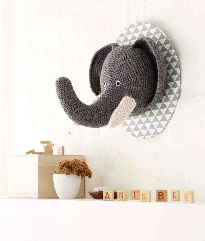 Trophée Eléphant - Crochet Déco - Anisbee