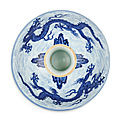 An exceptionally rare anhua-decorated blue and white 'dragon' stem bowl, mark and period of xuande (1426-1435)