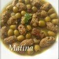 Tadjine zitoune olives aux boulettes de viande champignons