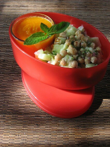 Salade pois chiches cannelle menthe