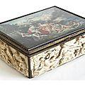 Italie (?) boîte rectangulaire à cage montée en argent, doublée d'écaille. première moitié du xixe siècle
