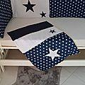 couverture bébé bleu marine blanc étoiles - linge lit bébé étoiles bleu marine blanc
