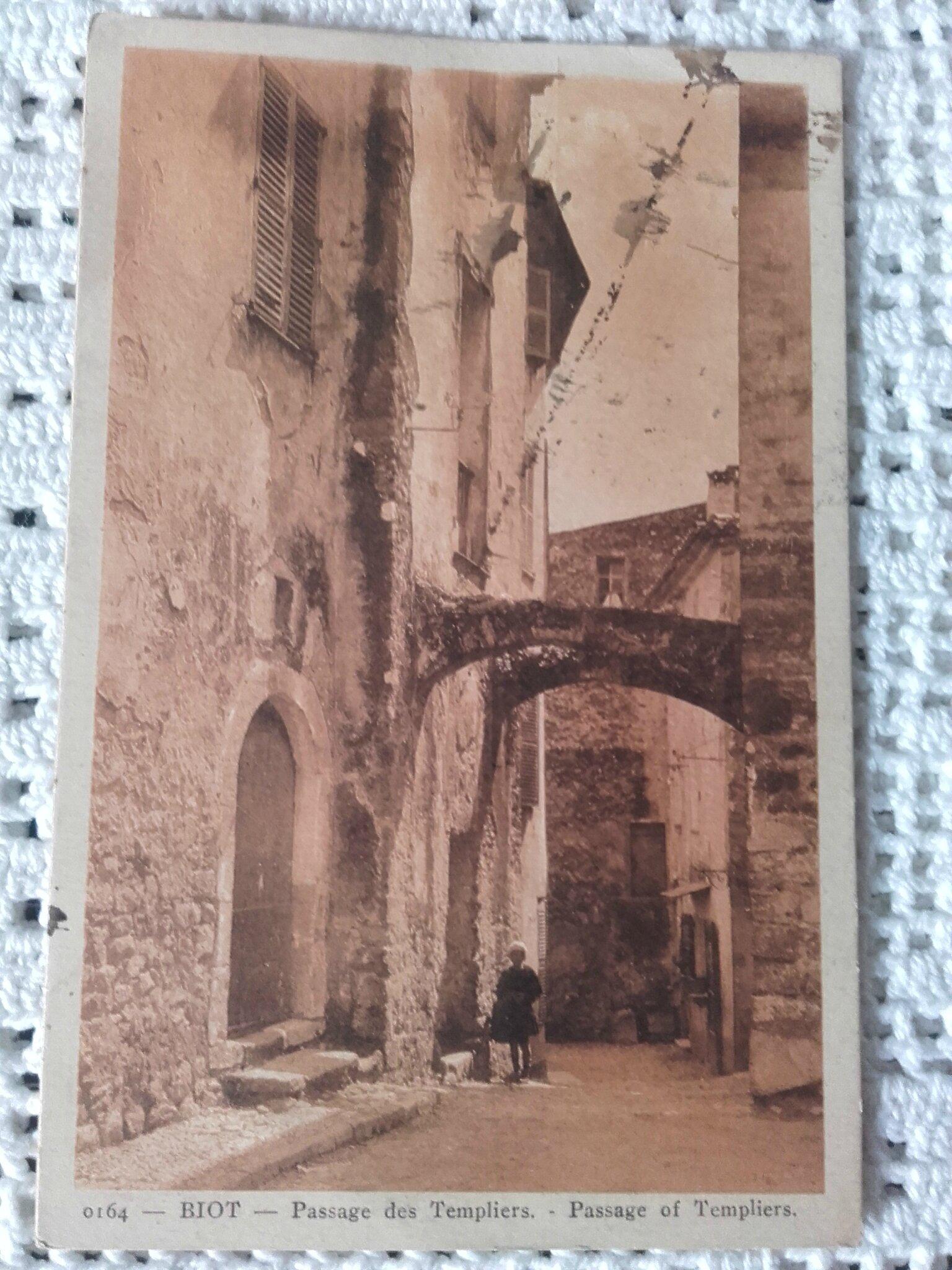 Biot - passage des Templiers datée 1932