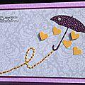01. mauve, gris, jaune et violet - parapluie et pluie de coeurs