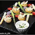 Pommes de terre de l'ile de ré, asperges et crème à la ciboulette