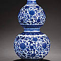 A rare ming-style blue and white double-gourd vase, qianlong period (1736-1795)