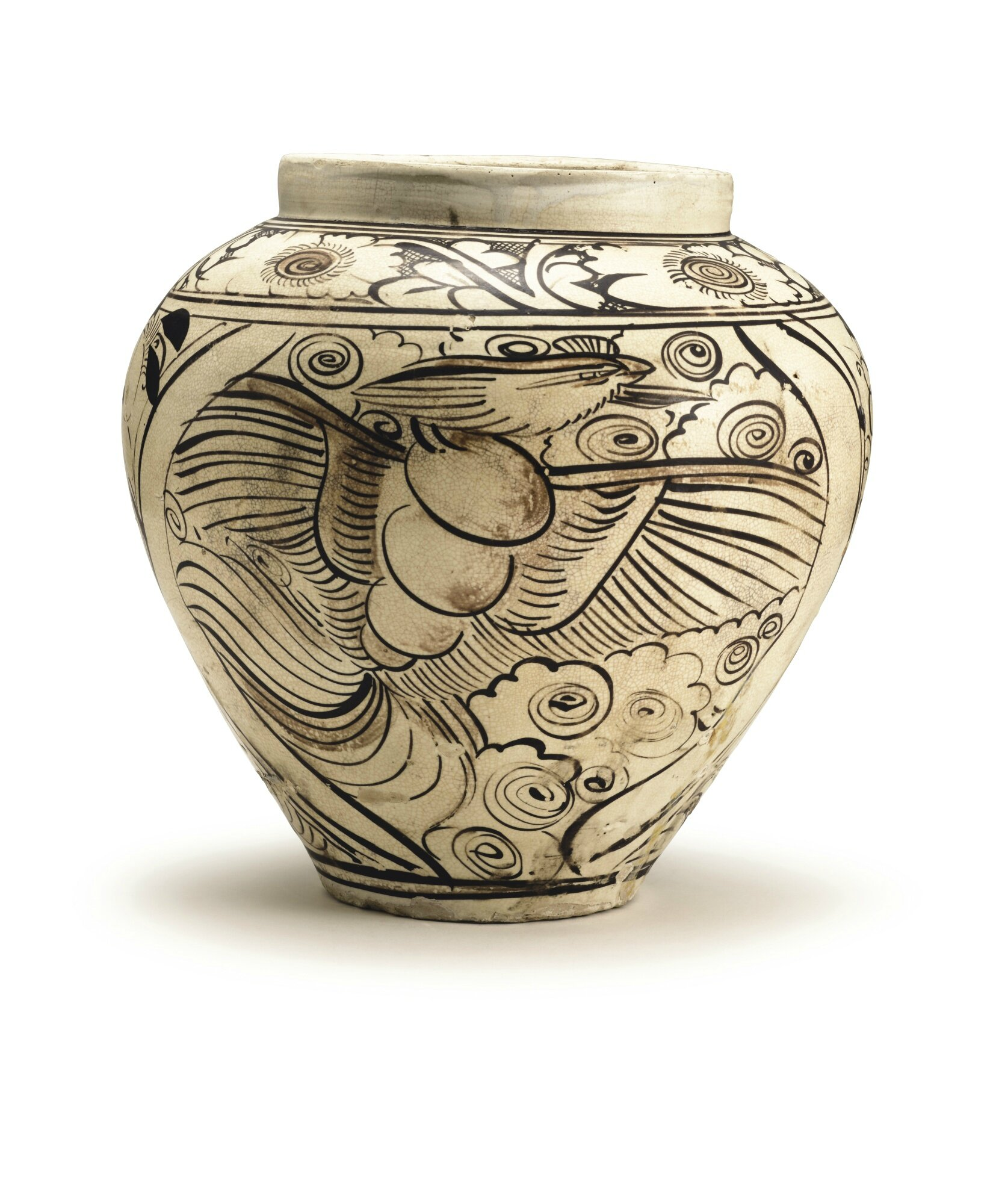 A 'Cizhou' painted 'Dragon and Phoenix' jar, Yuan dynasty
